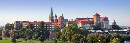 Panorama of historic royal Wawel Castle in Cracow, Poland