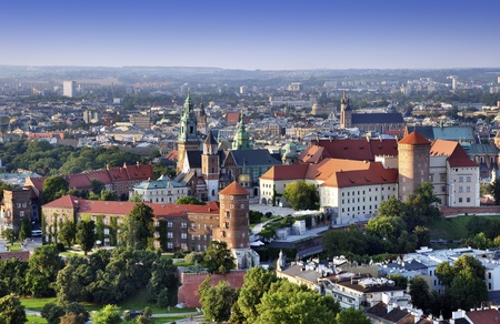 krakow: Cracow skyline with aerial view of historic royal Wawel Castle and city center