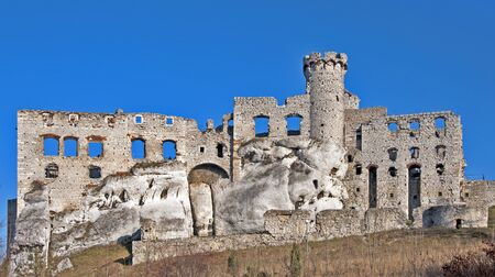 The ruins of medieval castle on the rock in Ogrodzieniec, Poland.