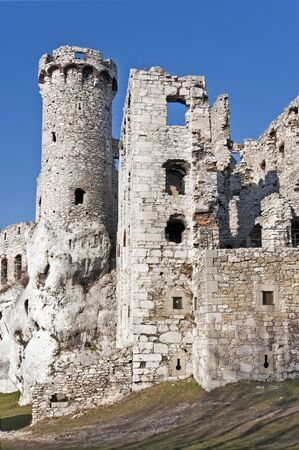 The ruins of medieval castle Ogrodzieniec with the tower on the rock. Poland.