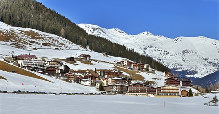 piste: Panorama of Hintertux ski resort in Zillertal Alps in Austria with the far view of ski lifts and pistes