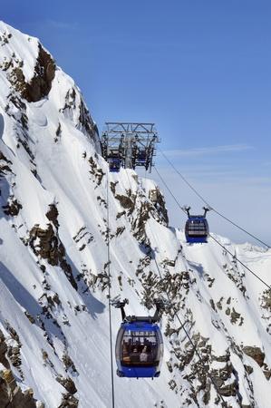 Gondola cable car to Hintertux Glacier in Zillertal Alps in Austria photo