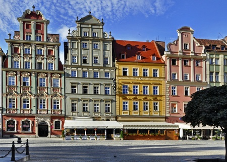 dolnoslaskie: Facades of old historic tenements on Rynek  Market Square  in Wroclaw  Breslau , Poland