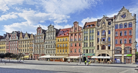 Facades of old historic tenements on Rynek  Market Square  in Wroclaw  Breslau , Poland