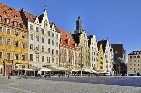 Rynek  Market Square  in Wroclaw  Breslau , Poland with old historic tenements photo