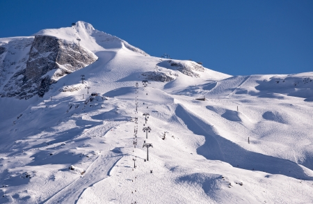 ski runs: Hintertux Glacier with gondolas, ski runs and pistes in Ziilertal Alps in Austria at sunset