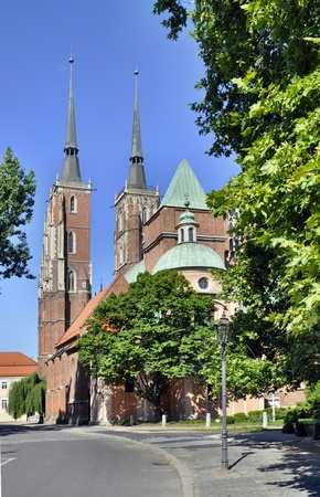 polska monument: Medieval, gothic cathedral in Wroclaw  Breslau , Poland