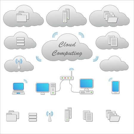 interface scheme: Cloud computing grey scheme and icons isolated on white