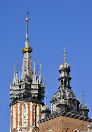 crown spire: The spires on the towers of St Mary (Mariacki) gothic church in Krakow, Poland