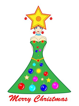 big breast: Christmas tree girl with Merry Christmas wishes
