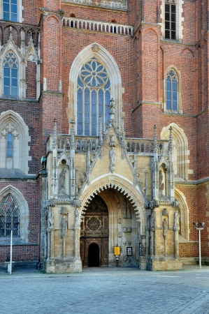 Gothic front portal of the cathedral in Ostrow Tumski in Wroclaw  Breslau , Poland Stock Photo - 18795950