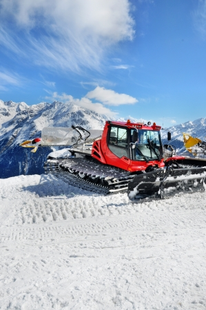 Snow groomer in Otztal Alps in Austria near Solden ski resort Stock Photo - 23131675