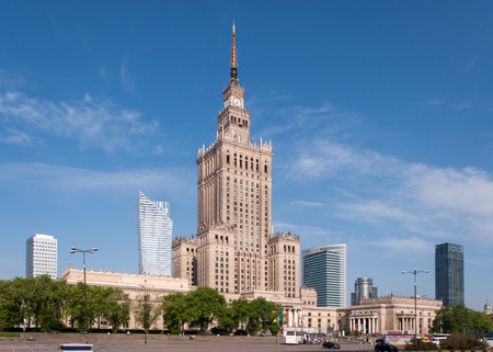 sky scrapers: Warsaw city center with Palace of Culture and Science  PKiN ,  a landmark and symbol of Stalinism and communism, and modern sky scrapers