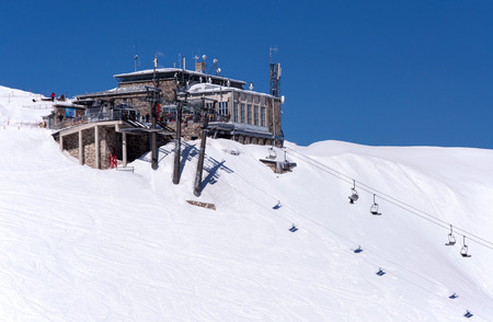 station ski: Top station of cable car and chair lift on Kasprowy Wierch ski center in Tatra mountains in Poland
