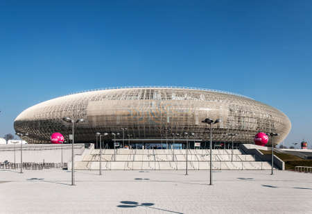 sports venue: CRACOW, POLAND - MARCH 23, 2015: Tauron Arena in Krakow. Modern entertainment and sports venue. The biggest one in Poland.