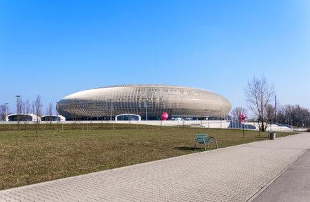 sports venue: CRACOVIA, Polonia - 23 de marzo 2015: Tauron Arena en Cracovia. Moderno y lugar de entretenimiento deportivo. El m�s grande en Polonia.