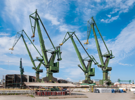 began: Cranes in the shipyard in Gdansk Poland where the Solidarity movement began in 1980.