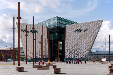 Belfast, Northern Ireland, UK - August 03, 2014: Guided tour in Titanic information centre in Belfast.