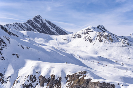 moguls: Skiing and snowboarding area, ski lifts and pistes in Hintertux ski resort in Tirol, Austria