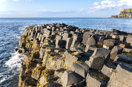 geological formation: Giants Causeway geological formation in Antrim, Northern Ireland, in sunset light.