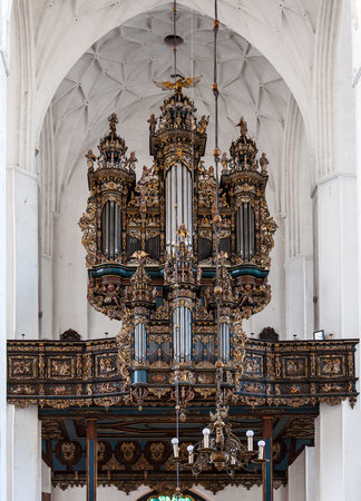 pipe organ: Baroque church pipe organ in Gdansk Cathedral in Poland Stock Photo