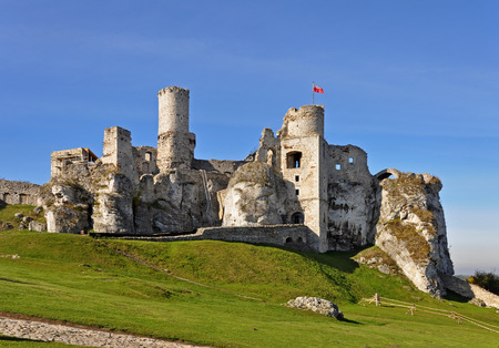 ogrodzieniec: The ruins of medieval castle on the rock in Ogrodzieniec in Poland Stock Photo
