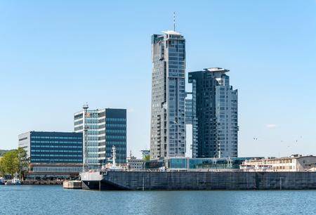 Gdynia, 폴란드, 포트 부두와 현대 건물