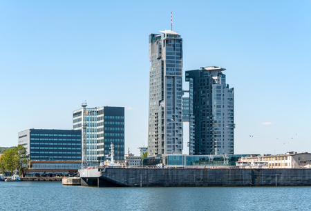 Gdynia, Poland, cityscape with the port wharf and modern buildings