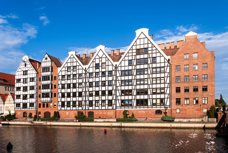 Old historic granaries on the Granary Island in Gdansk, Poland