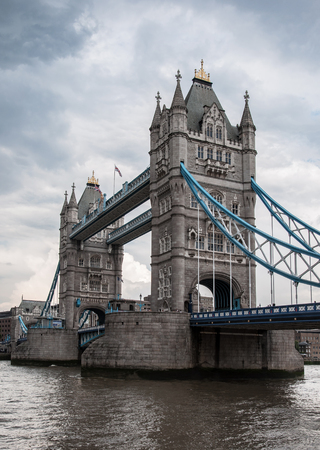 dreary: Tower Bridge in London during a cloudy, dreary weather