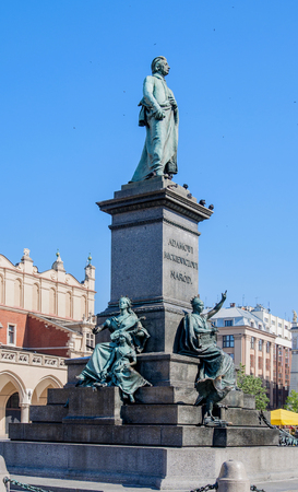 romatic: Monument of Adam Mickiewicz, Polish national romatic poet and dramatist on Main Market Square in Krakow, Poland. Editorial