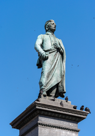 main market: Monument of Adam Mickiewicz, Polish national romatic poet and dramatist on Main Market Square in Krakow, Poland. Editorial
