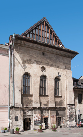 kazimierz: Cracow, Poland, June 6, 2016: Inactive old Orthodox Jewish synagogue in Kazimierz District of Krakow called High or Tall.  Built in 16th century.