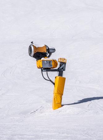 Snow making machine, called also snow cannon or snow gun in Austrian Alps near Solden