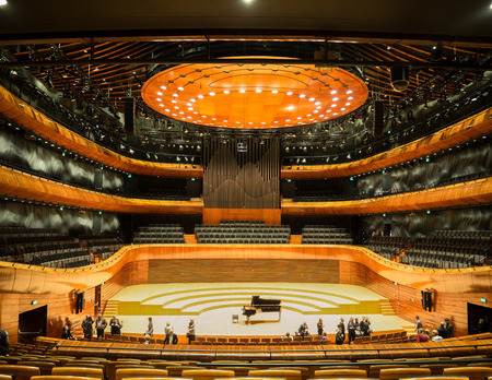 KATOWICE, POLAND - JANUARY 14, 2017: Interior of modern concert hall of the National Symphonic Orchestra of Polish Radio (NOSPR) in Katowice, Poland. Redactioneel
