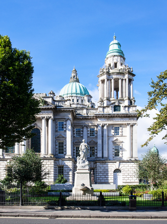 Titanic Memorial monument (erected in 1920) and Titanic Memorial Garden commemorating all the victims of Titanic disaster in Donegall Square in front of Belfast city hall, Northern Ireland