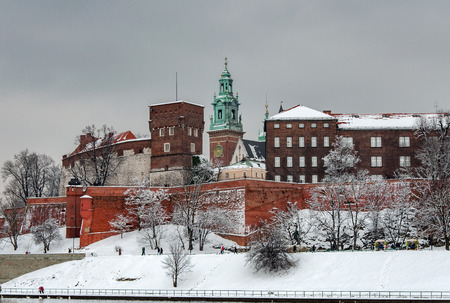 Historic royal Wawel Cathedral and castle in Cracow, Poland, on a cloudy day in winter