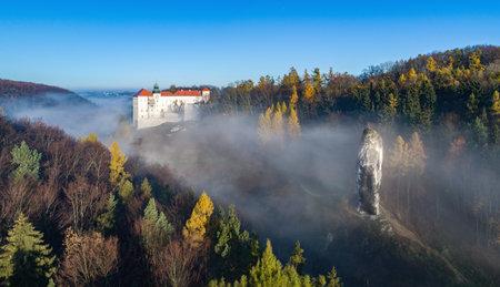 "Limestone cliff Pieskowa Skala near Krakow, Poland, with isolated rock  ""Maczuga Herkuklesa"" (Hercules cudgel or bludgeon) and historic Renaissance castle in morning fog in fall. Aerial panorama"