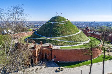 Kosciuszko Mound (Kopiec Ko?ciuszki). Krakow landmark, Poland. Erected in 1823 to commemorate Tadedeusz Kosciuszko. Surrounded by a citadel built by Austrian Administration about 1850. Aerial view