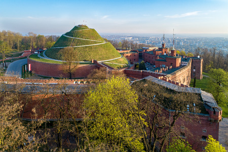 Kosciuszko Mound (Kopiec KoÅ›ciuszki). Krakow landmark, Poland. Erected in 1823 to commemorate Tadedeusz Kosciuszko. Surrounded by a citadel built by Austrian Administration about 1850. Aerial view