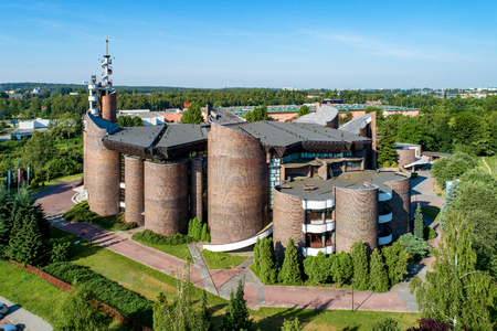 Katowice, Poland - June 8, 2018: Modern Church of the Exaltation of the Holy Cross and Our Lady Health of the Sick in Katowice, built in 1991. Aerial view Publikacyjne