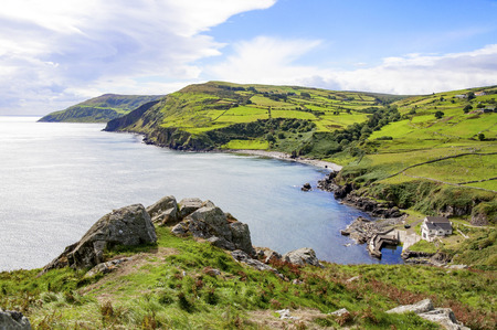 Northern coast, a bay and a small harbor in County Antrim, Northern Ireland, UK, The view from Torr Head, Ballycastle Banque d'images