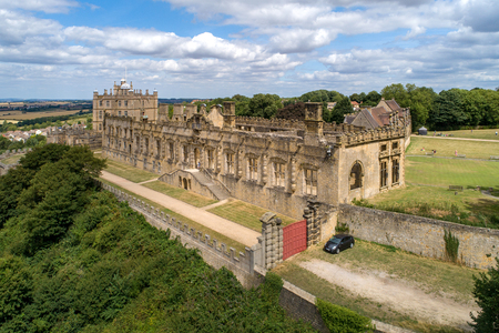 Bolsover castle in Nottinghamshire, England, UK. Partly ruined. Aerial view. Stock Photo