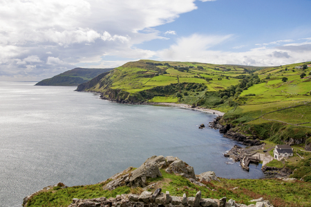 Northern coast, a bay and a small harbor in County Antrim, Northern Ireland, UK, The view from Torr Head, Ballycastle Zdjęcie Seryjne