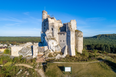 Ruins of Medieval Castle in Mirow, Silesia, Poland, built in 14th century. One of strongholds  called Eagles Nests in Polish Jurassic Highland in Silesia. Aerial view. Zdjęcie Seryjne