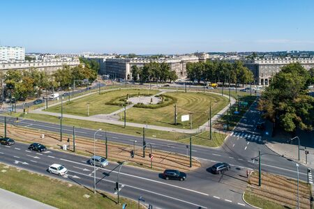 Kraków, Poland. Aerial panorama of Ronald Reagan Central Square in Nowa Huta. One of two entirely planned and build socialist realist towns in the world. Originally the town, now a district of Cracow Imagens