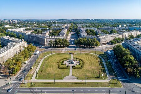 Kraków, Poland. Aerial panorama of Nowa Huta (New Steel Mill), one of only two entirely planned and build socialist realist settlements in the world. Originally the town, now a district of Cracow Imagens