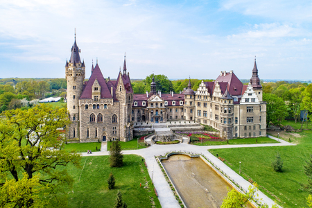 Fabulous historic castle in Moszna near Opole, Silesia, Poland. Built in XVII century, extended from 1900 to 1914. One of the best known and most beautiful monuments in Upper Silesia. Aerial view