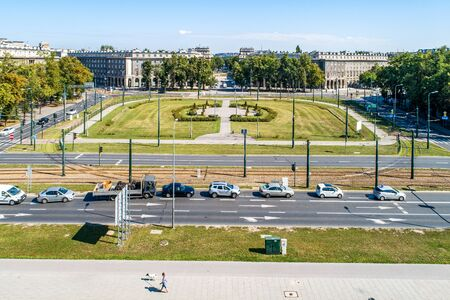 Kraków, Poland. Aerial panorama of Ronald Reagan Central Square in Nowa Huta. One of two entirely planned and build socialist realist towns in the world. Originally the town, now a district of Cracow