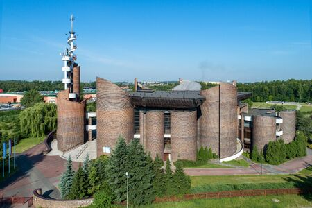 Katowice, Poland - June 8, 2018: Modern Church of the Exaltation of the Holy Cross and Our Lady Health of the Sick in Katowice, built in 1991. Aerial view Zdjęcie Seryjne